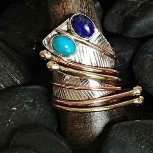 Jewelry - Artisan Turquoise & Lapis Snake Ring